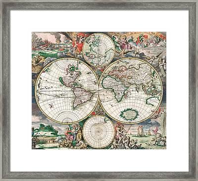 Antique World Map Framed Print