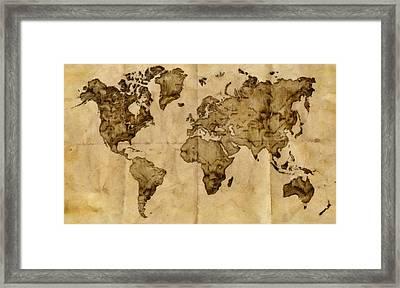 Antique World Map Framed Print by Radu Aldea