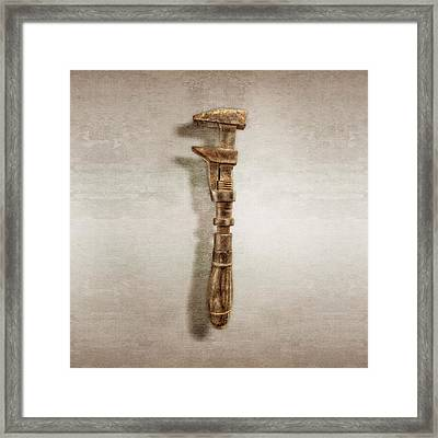 Antique Wrench L Face Wood Wire  Framed Print by YoPedro