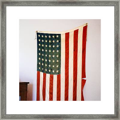 Antique 48 Star American Flag  Framed Print by Donald  Erickson