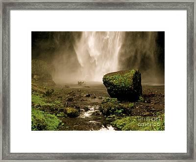 Antiqued Falls Framed Print by PJ  Cloud