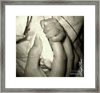 Antiqued Hands Framed Print by Emily Kelley