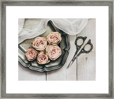 Framed Print featuring the photograph Antiqued Roses by Kim Hojnacki