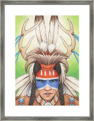 Antlered Warrior Framed Print