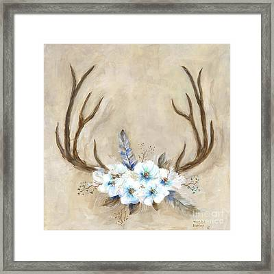 Antlers And Flowers Framed Print