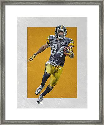 Antonio Brown Pittsburgh Steelers Art Framed Print by Joe Hamilton