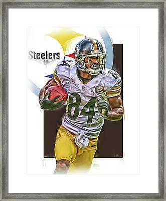 Antonio Brown Pittsburgh Steelers Oil Art 4  Framed Print by Joe Hamilton