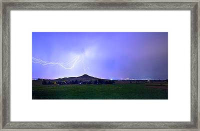 Framed Print featuring the photograph Anvil Lightning Striking Above Haystack Mountain Panorama by James BO Insogna