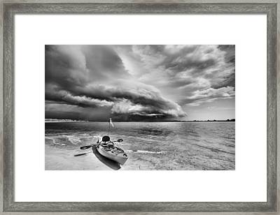 Any Port In A Storm Black And White Framed Print by JC Findley
