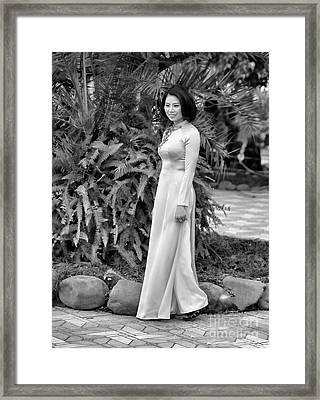 Ao Dai Fashion Black White  Framed Print