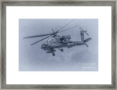 Apache Helicopter In Blue Framed Print by Randy Steele