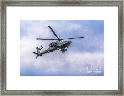Apache Helicopter In Flight Three Framed Print by Randy Steele