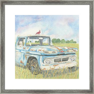 Framed Print featuring the drawing Apache Out To Pasture by Arlene Crafton