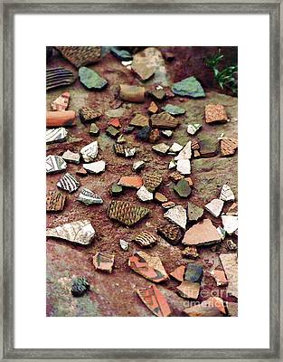 Framed Print featuring the photograph Apache Pottery Shards by Juls Adams