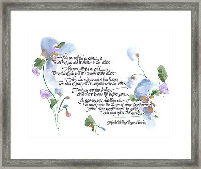 Apache Wedding Prayer Blessing Framed Print