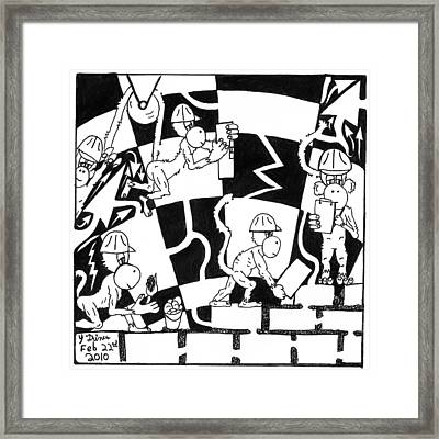Ape Illuminati Team Of Monkeys Free Masons Framed Print by Yonatan Frimer Maze Artist