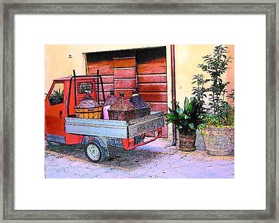 Ape Truck In Tuscany Framed Print by Jan Matson