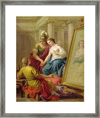 Apelles In Love With The Mistress Of Alexander Framed Print by Louis Jean Francois I Lagrenee