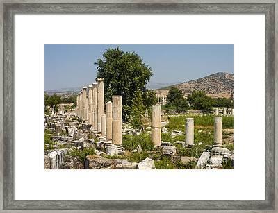 Aphrodisias Columns Framed Print by Bob Phillips