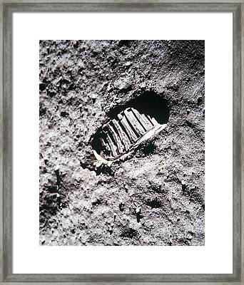 Apollo 11 Footprint On The Moon Framed Print by NASA Science Source