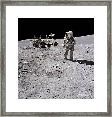 Apollo 16 Astronaut Collects Samples Framed Print by Stocktrek Images