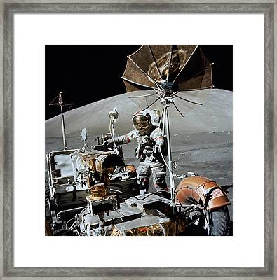 Apollo 17 Astronaut Approaches Framed Print by Stocktrek Images