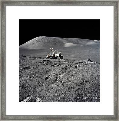 Apollo 17 Lunar Image With Rover Framed Print by Stocktrek Images