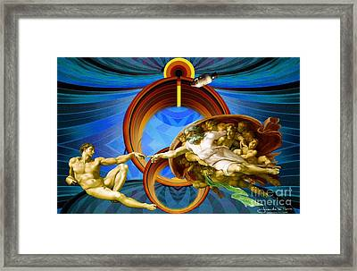 Apollo 8 And The Creation Of Adam In Blue Framed Print