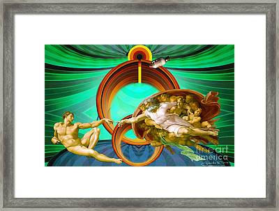 Apollo 8 And The Creation Of Adam In Green Framed Print