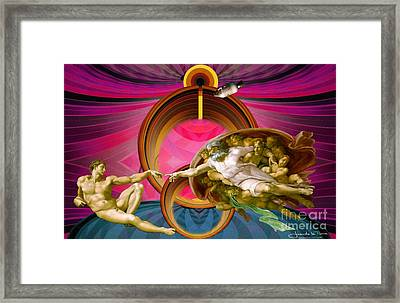 Apollo 8 And The Creation Of Adam In Purple Framed Print