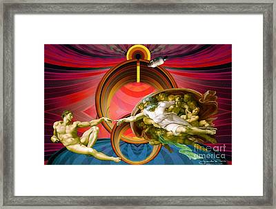 Apollo 8 And The Creation Of Adam In Red Framed Print