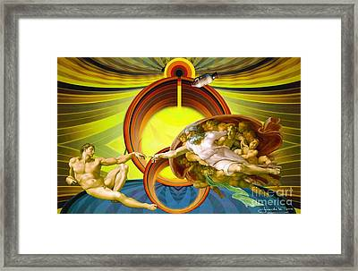 Apollo 8 And The Creation Of Adam In Yellow Framed Print