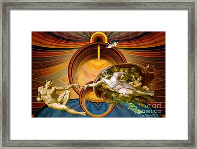 Apollo 8 And The Creation Of Adam Framed Print