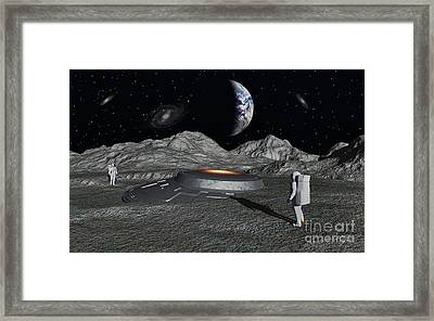 Apollo Astronauts Discover A Ufo Framed Print by Mark Stevenson