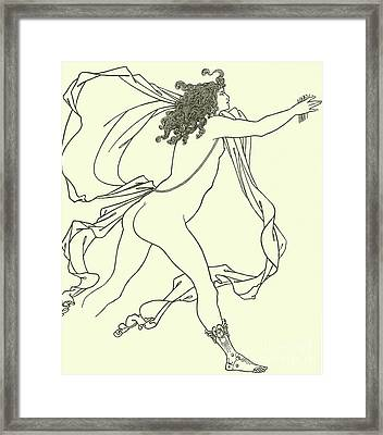 Apollo Pursuing Daphne Framed Print by Aubrey Beardsley
