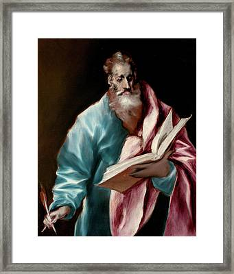 Apostle Saint Matthew Framed Print by El Greco