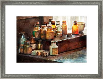 Apothecary - Chemical Ingredients  Framed Print by Mike Savad