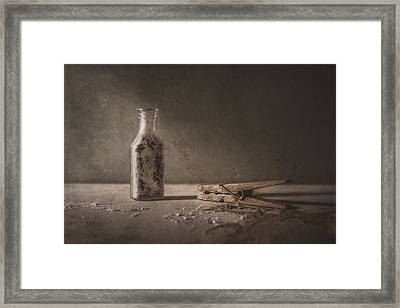 Apothecary Bottle And Clothes Pin Framed Print by Scott Norris