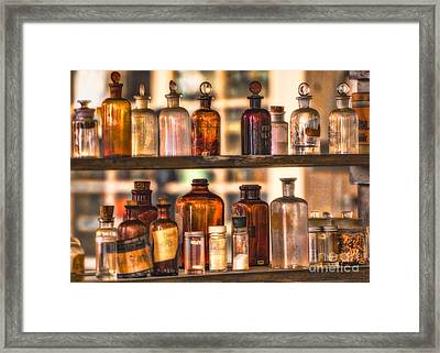 Apothecary Bottles Framed Print by Jerry Fornarotto