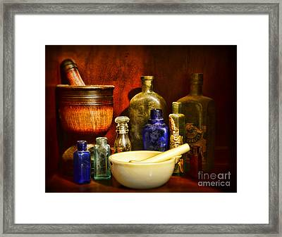 Apothecary - Tools Of The Pharmacist Framed Print