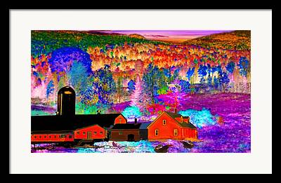 Maine Farmhouse Mixed Media Framed Prints