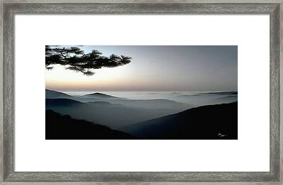 Appalachian Smoky Mountain Fog Panoramic Misty Dawn  Sunrise Sunset Scene Picture Decor Framed Print by John Samsen