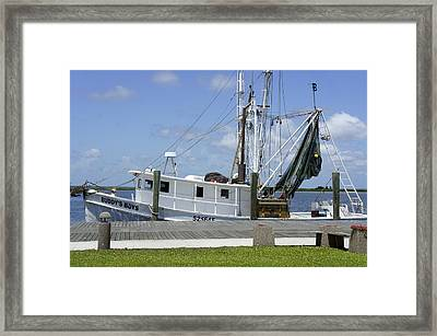 Appalachicola Shrimp Boat Framed Print by Laurie Perry