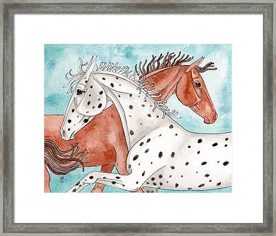 Appaloosa And Chestnut On Turquoise Framed Print by Suzanne Joyner