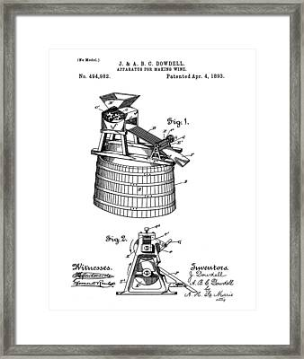 Apparatus For Making Wine Patent 1893 Framed Print by Bill Cannon