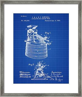 Apparatus For Making Wine Patent 1893 Blueprint Framed Print by Bill Cannon