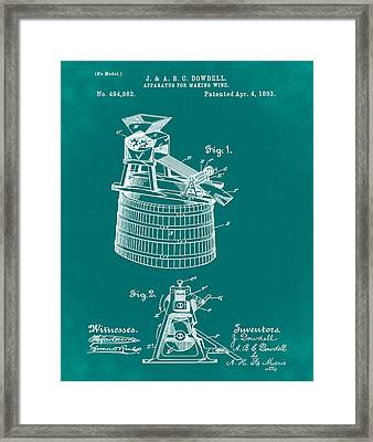 Apparatus For Making Wine Patent 1893 Green Framed Print by Bill Cannon