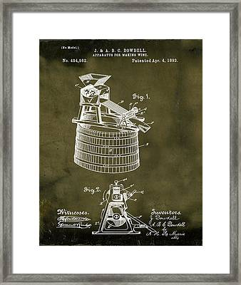 Apparatus For Making Wine Patent 1893 Grunge Framed Print by Bill Cannon