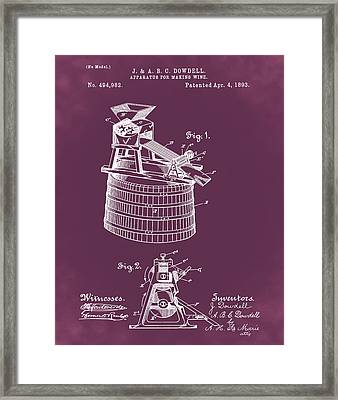 Apparatus For Making Wine Patent 1893 Red Framed Print by Bill Cannon