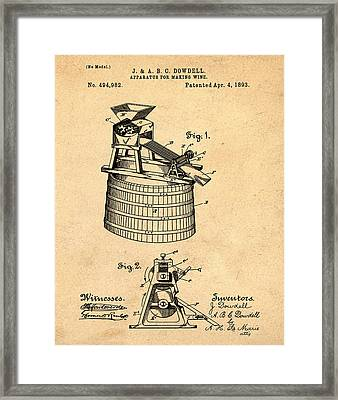 Apparatus For Making Wine Patent 1893 Sepia Framed Print by Bill Cannon
